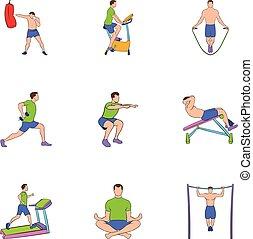 Training apparatus icons set, cartoon style