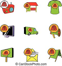 Ali delivery icons set, cartoon style - Ali delivery icons...
