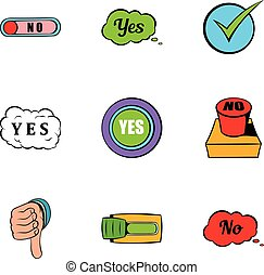 Button yes icons set, cartoon style
