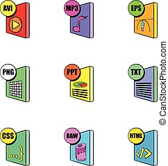 File format icons set, cartoon style - File format icons...