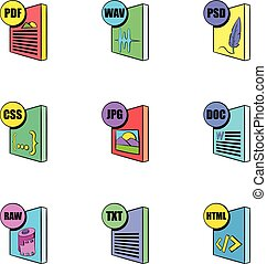 Download file icons set, cartoon style - Download file icons...
