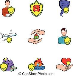 Insurance icons set, cartoon style - Insurance icons set....