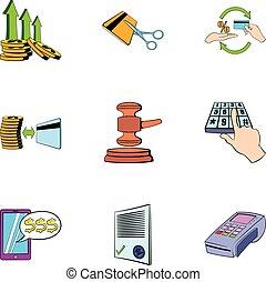 Money transaction icons set, cartoon style