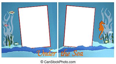 Mermaid Theme Scrapbook Frame Template