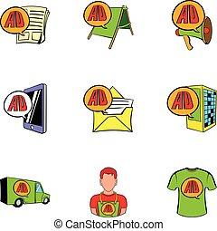 Ali Express shop icons set, cartoon style - Ali Express shop...