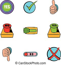 Select button icons set, cartoon style