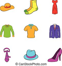 Dressing room icons set, cartoon style - Dressing room icons...