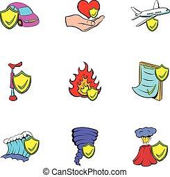 Misadventure icons set, cartoon style - Misadventure icons...