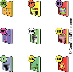 File extensions icons set, cartoon style - File extensions...