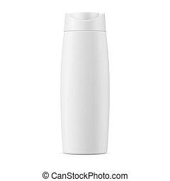 White matte shampoo bottle template. - White matte plastic...