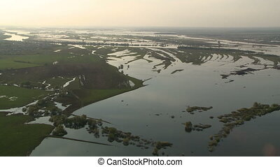 Spring river flood landscape aerial view from board the...