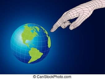 Wireframe human hand pointing to planet earth - Wireframe...