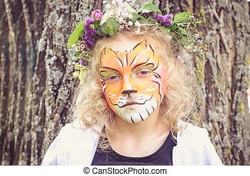 tigre, niño, Pintura, cara