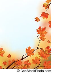 Maple Tree Leaves against blue sky. EPS 8 vector file...
