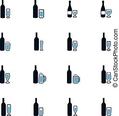 Glasses and cups icons set - Glasses and cups symbol for web...