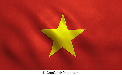 Vietnam Flag - Vietnam flag with fabric texture.