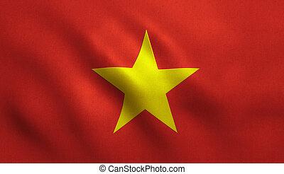 Vietnam Flag - Vietnam flag with fabric texture.