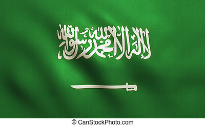 Saudi Arabia Flag - Saudi Arabia flag background with fabric...