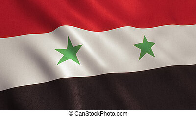 Syria Flag - Syria flag background with fabric texture.