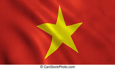 Vietnam Flag - Vietnam flag background with fabric texture.