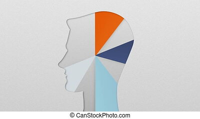 Five result shape of man head for diagram, chart....
