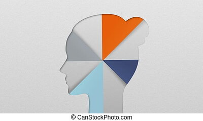 Four result shape of woman head for diagram, chart....