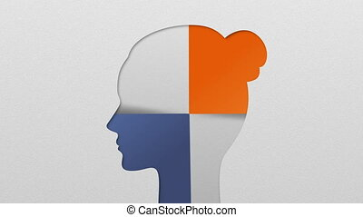 Two result shape of woman head for diagram, chart....