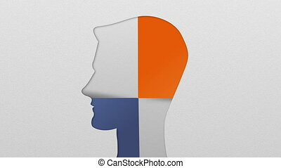 Two result shape of man head for diagram, chart....