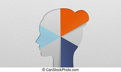 Three result shape of woman head for diagram, chart....