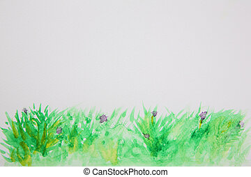 Abstract grass watercolor background texture