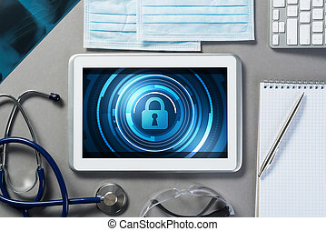 Web security and technology concept with tablet pc on table