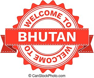 Illustration Doodle of WELCOME TO COUNTRY BHUTAN