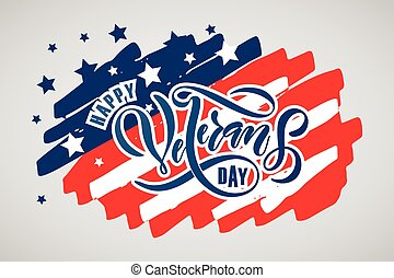 Hand sketched text 'Happy Veterans Day' on textured background. Happy Veterans Day vector lettering typography