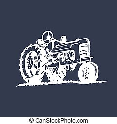 Vector illustration of retro tractor in hand sketched style....