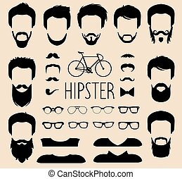 Vector set of dress up constructor with different men hipster haircuts,glasses etc.in flat style. Man faces icon creator