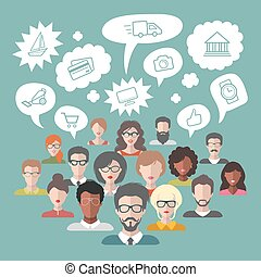 Vector illustration of brainstorming with people and speech...