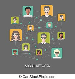 Vector illustration of social network, global people internet connection, men app icons in flat style.