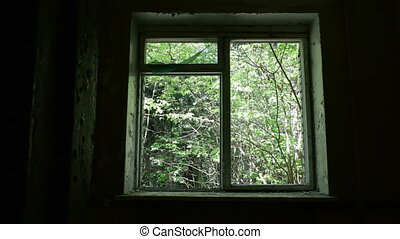 Window in the deserted house. Smooth and slow dolly shot