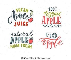 Hand sketched apple lettering typography. Concept for...