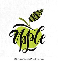 Hand sketched fresh apple lettering typography. Farmers...