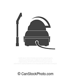 Retro vacuum cleaner isolated on background. Vector...