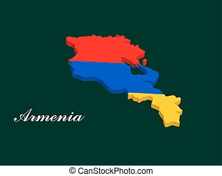 Armenia map vector with the armenian flag on dark green...