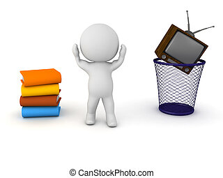 3D Character kicking the habit of watching TV - A stressed...