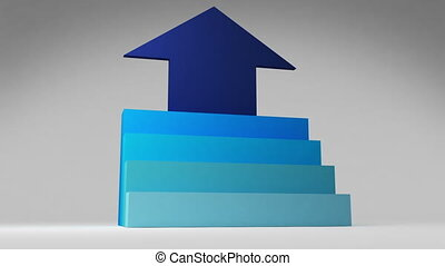 Four 3D stair step. arrow square intro title box diagram...
