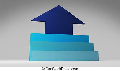 Three 3D stair step. arrow square intro title box diagram...
