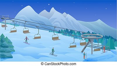 Night Winter Leisure Activity Template - Night winter...