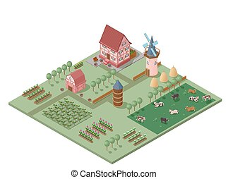 Isometric Colorful Farming Concept - Isometric colorful...