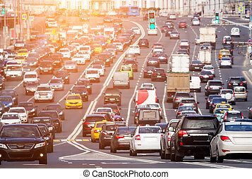 Congested road with lots of cars - Lots of vehicles during...