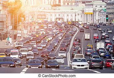 Congested with cars multilane road - View from above to the...