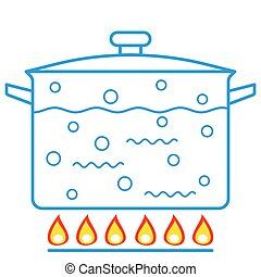 Boiling water in pan - Illustration of the boiling water in...